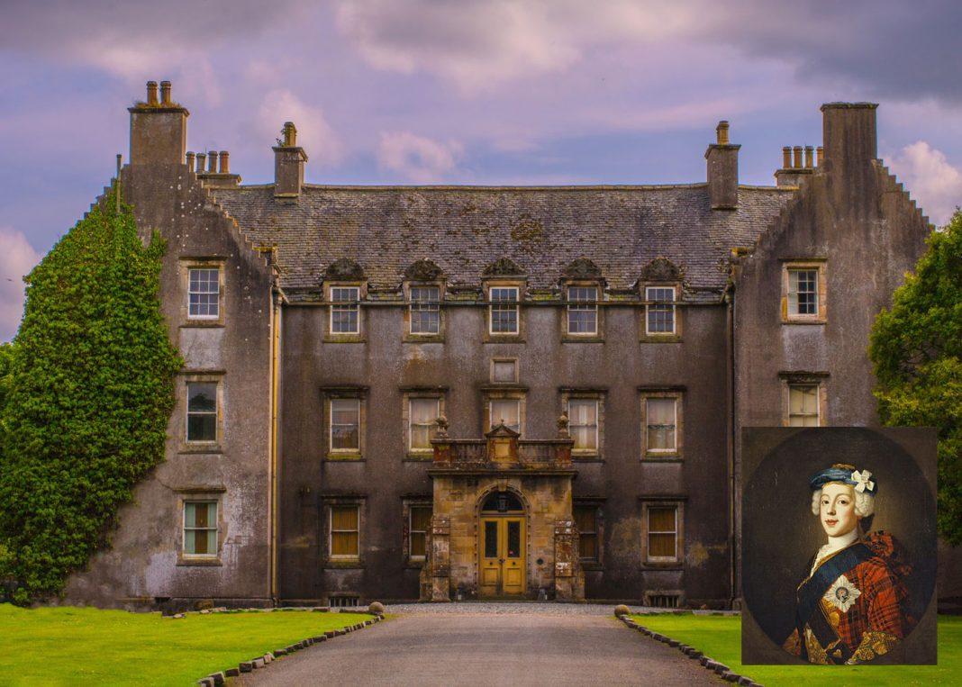 Bannockburn House ©Bannockburn House Trust, 2018 – kindly donated by Alistair Thomson (Inset) Bonnie Prince Charlie – Wikimedia CC