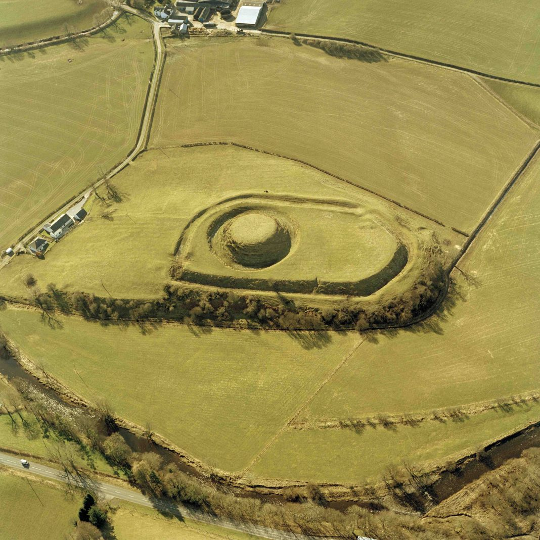 Aerial photograph of Mote of Urr. © Historic Environment Scotland.