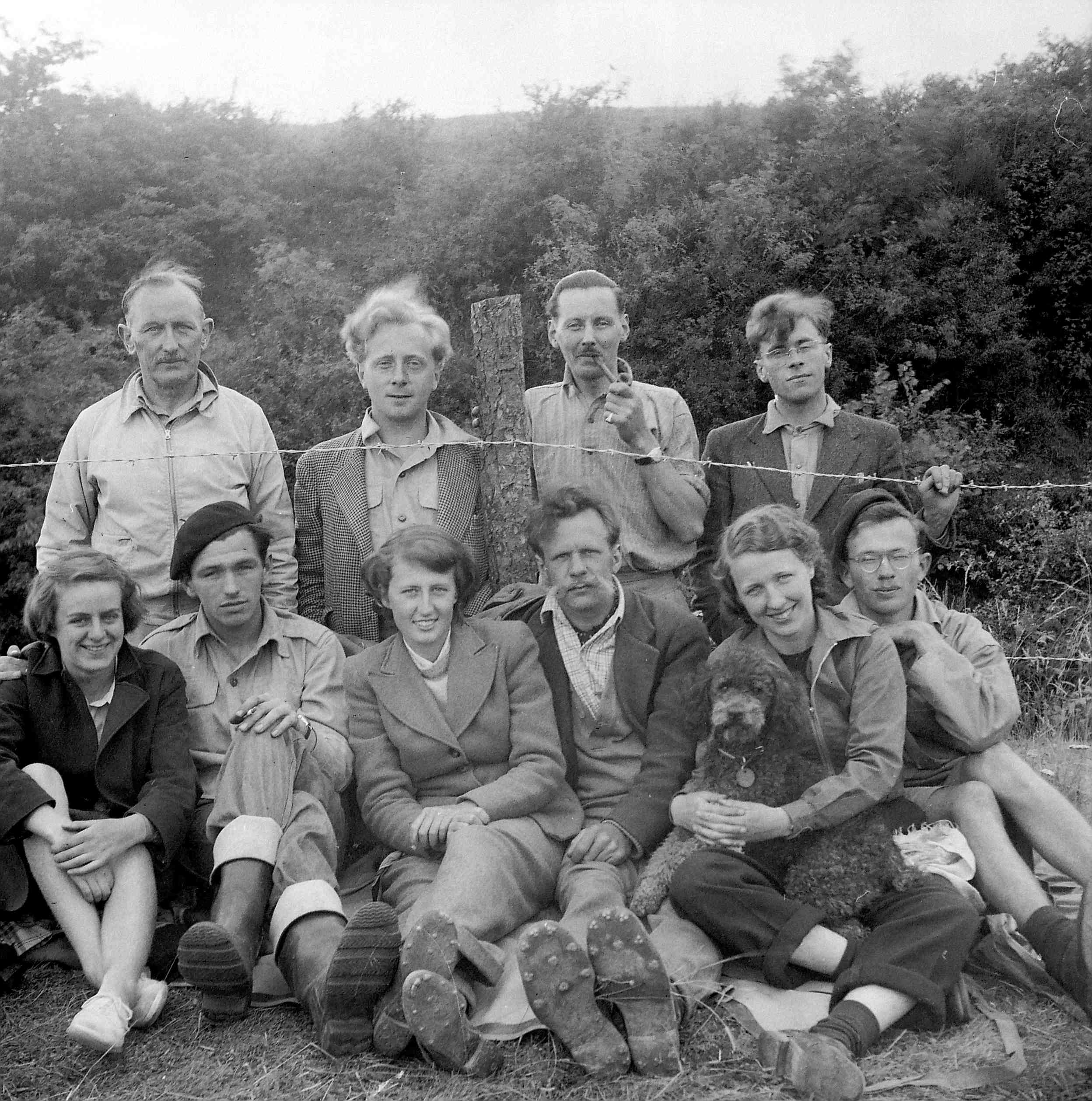 Photograph of excavation team (in 1951?). Brian Hope-Taylor is in the back row, second from the left. © Historic Environment Scotland.