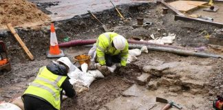 The remains of the castle wall unearthed in Castle Street Kirkwall. Photo: ORCA Archaeology