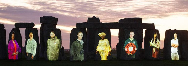Stonehenge illuminated thank you to heritage workers