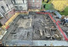 Aerial View of Excavation at Jesus College