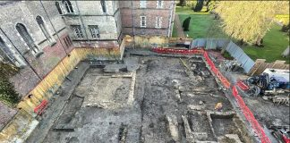 Aerial View of Excavation at Jesus College
