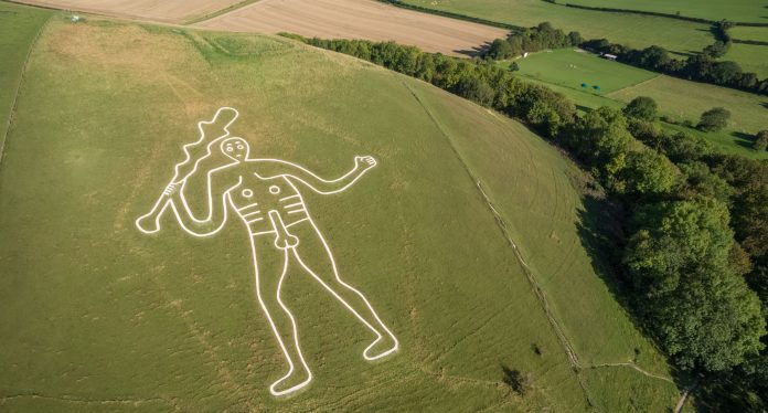 Cerne Abbas giant from the air. National Trust Images_Mike Calnan_James Dobson